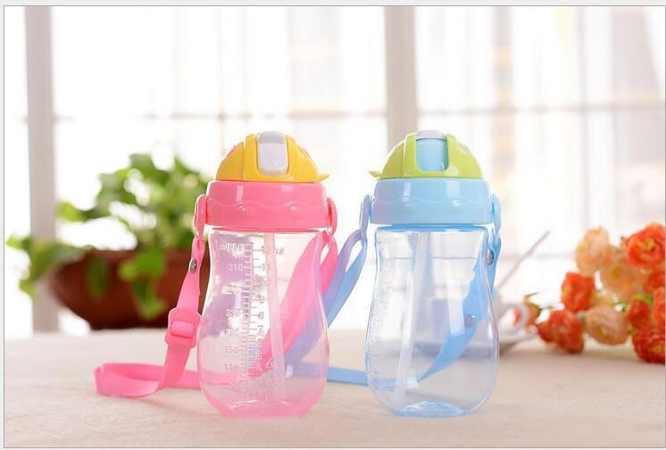 280Ml Cup with Straw Baby Feeding Cup Kids Learn Drinking Water Milk Bottle LA