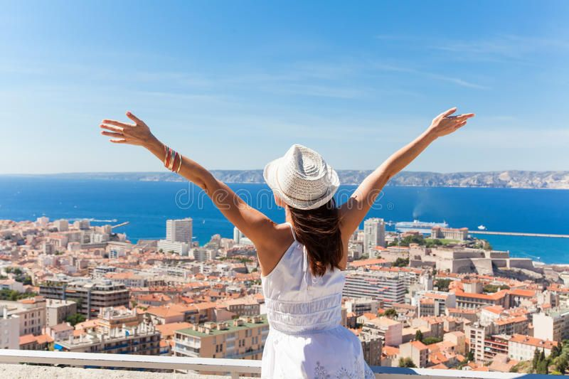 Salut Marseille!. Girl welcomes the French city of ...