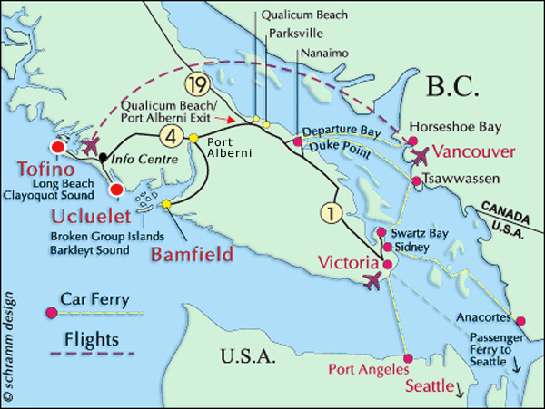 Map Of Vancouver Canada And Usa Vancouver Island, Ucluelet Map, Canada, USA, Tofino, Victoria