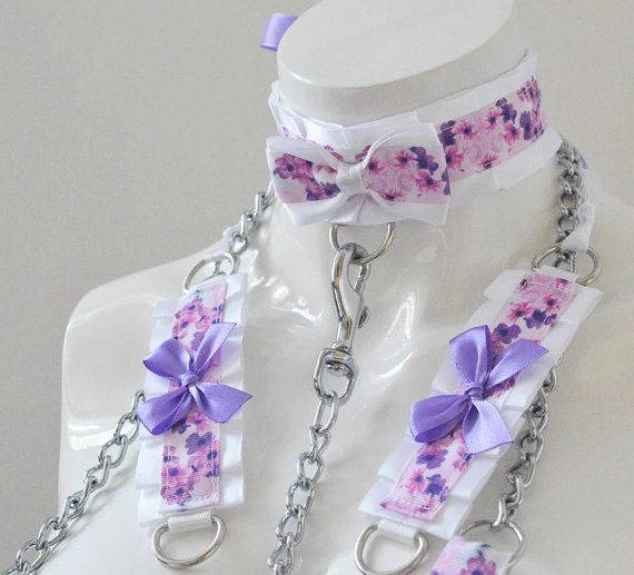 Kitten play collar leash and cuffs  Violet secret  by Nekollars