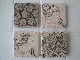 Diy Marble Tile Coasters Tumbled From Lowes Less Than 1 Each Clear Stamps Ink Cork An Easy Inexpensive Gift
