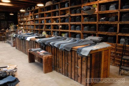 Earnest Sewn Malibu Country Mart. This is an interior view of the jean display which incorporated reclaimed vintage ammunition boxes.