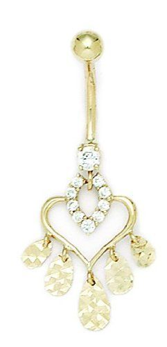 14k Yellow Gold CZ 14 Gauge Dangling Heart Pear Shapes Belly Ring - Measures 39x18mm - JewelryWeb JewelryWeb. $200.00. Save 50%!