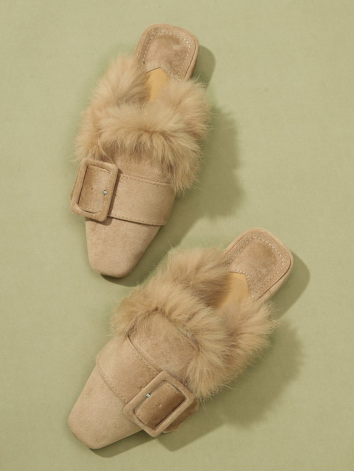 3d3efd24a4f9 Buckle Strap Decorated Faux Fur Flat Mules – Sunshine s Boutique   Gifts