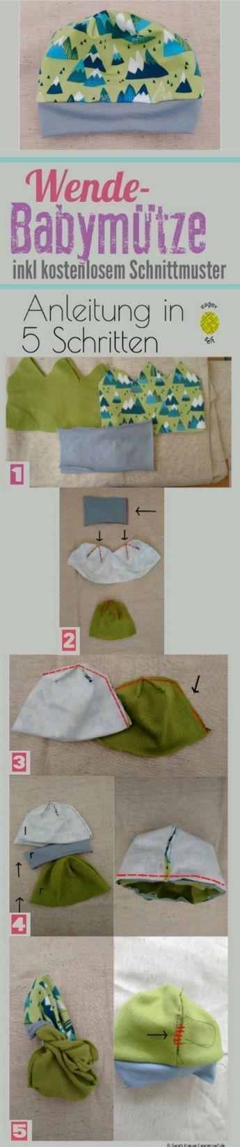 Baby Mütze Schnittanleitung Schnittmuster Gratis Baby #Anleitungen #Baby #B