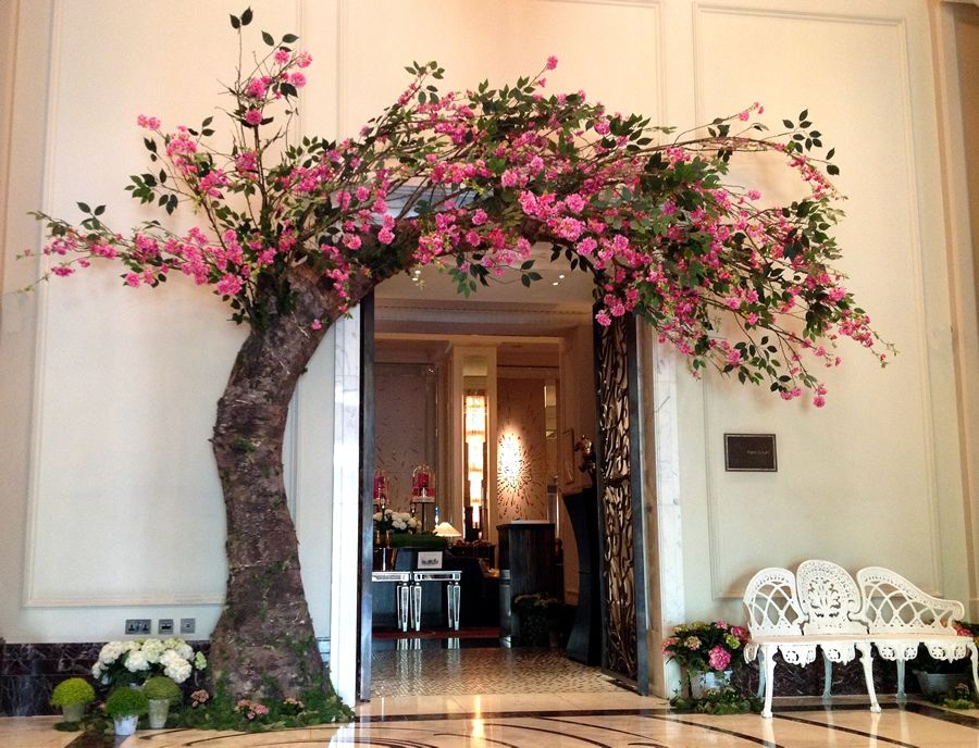 A floral entrance into Palm Court appeared overnight