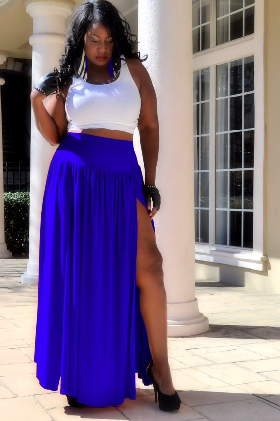 037a025874 Plus Size Maxi Skirt - Double Slit in 2019 | Products | Fashion ...