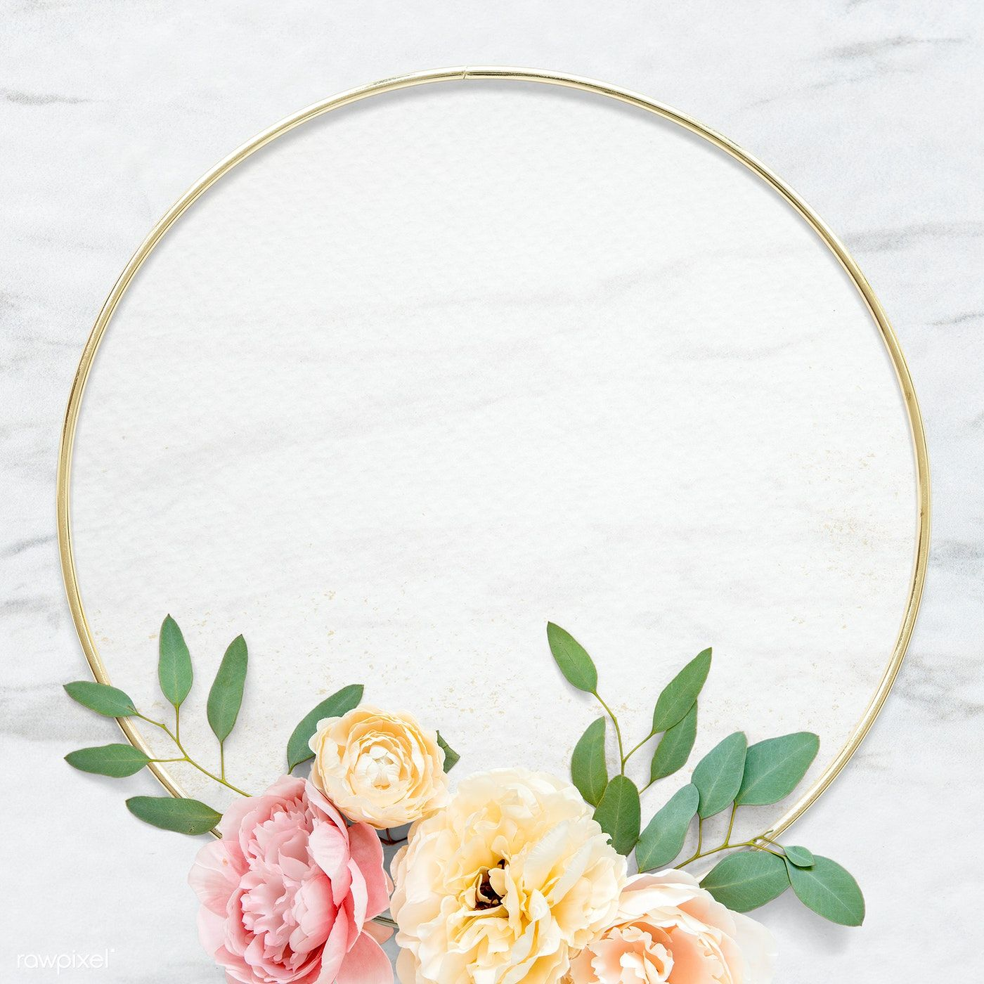 Download premium psd of Golden round floral frame design