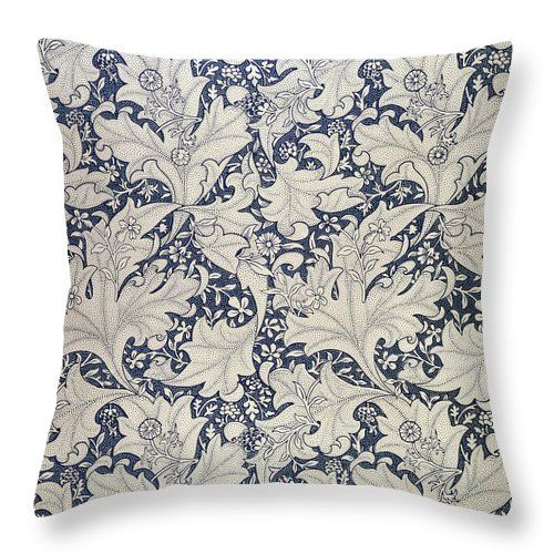 "'wallflower' Design  Throw Pillow (14"" x 14"") by William Morris.  Our throw pillows are made from 100% cotton fabric and add a stylish statement to any room.  Pillows are available in sizes from 14"" x 14"" up to 26"" x 26"".  Each pillow is printed on both sides (same image) and includes a concealed zipper for easy cleaning. Also carry shower curtain and duvet cover in same print."