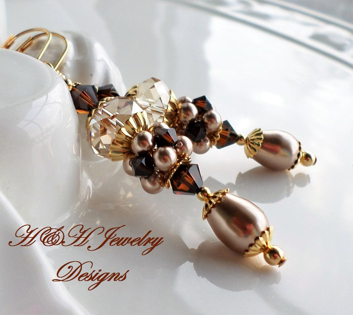 Dark Brown and Golden Shadow Swarovski Crystal and Pearl Cluster Ball Earrings by hhjewelrydesigns on Etsy
