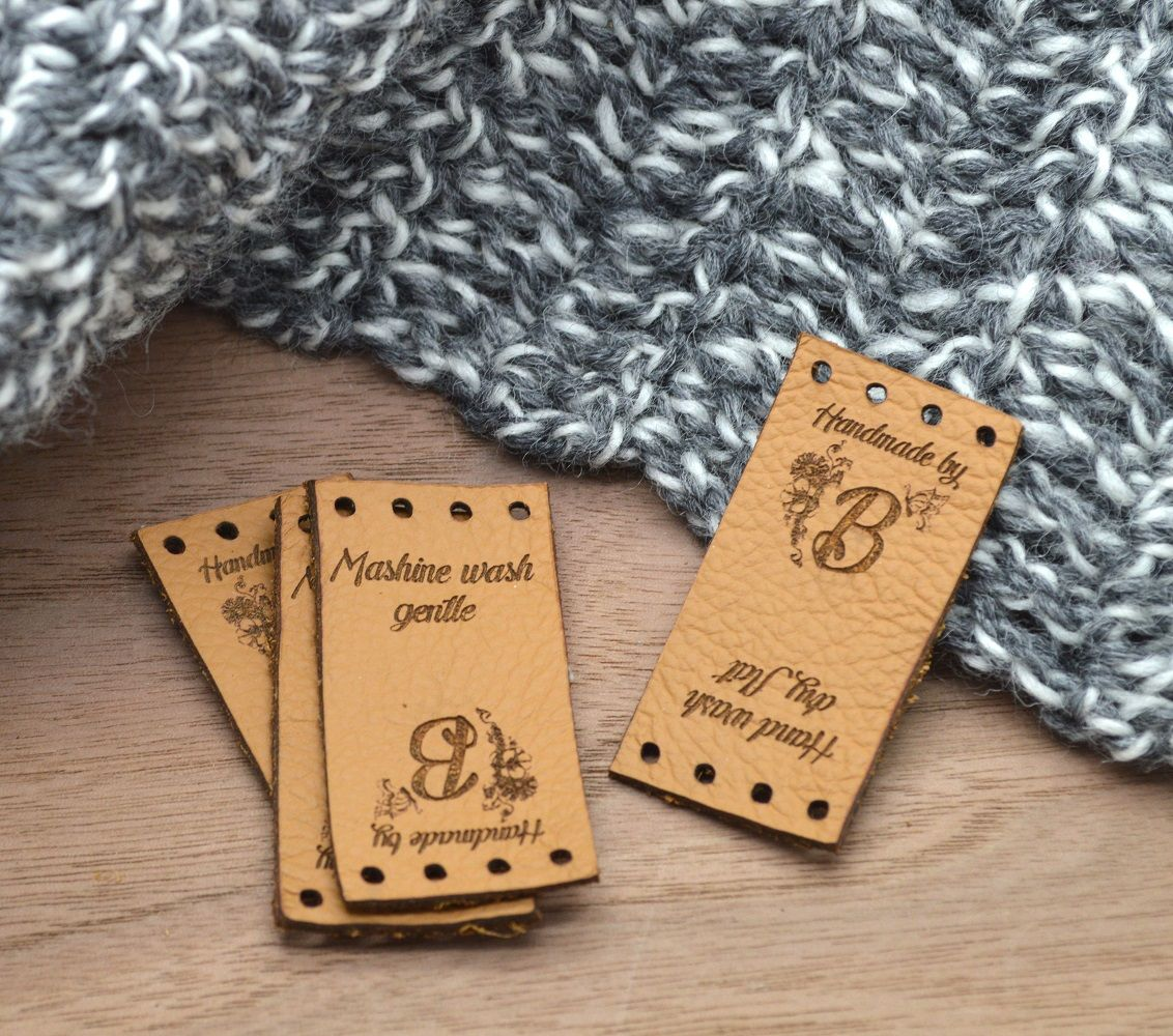 Personalized knitting Leather tag knitting label knitting tag leather label