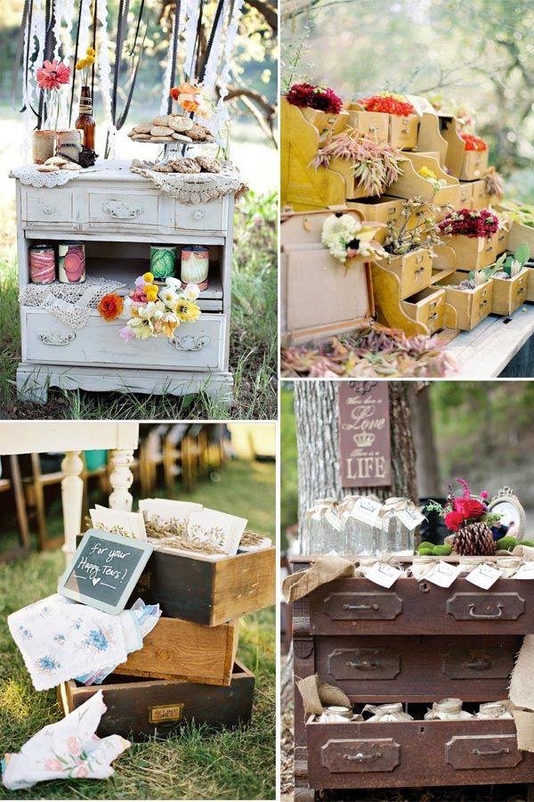 Hochzeitsblumen Dekoration in der schublade Vintage wedding 2014 - gartenparty deko rustikal