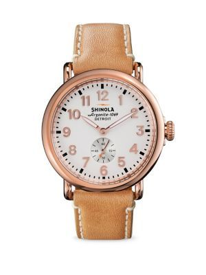 656c3f26c01 SHINOLA Runwell Rose Goldtone PVD Stainless Steel   Leather Strap Watch.   shinola  watch