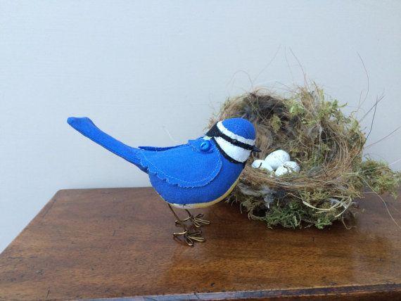Modelo pássaro azul tit exclusivo tecido macio Handmade escultura