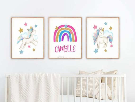 Unicorn Nursery Decor Rainbow And Wall Art