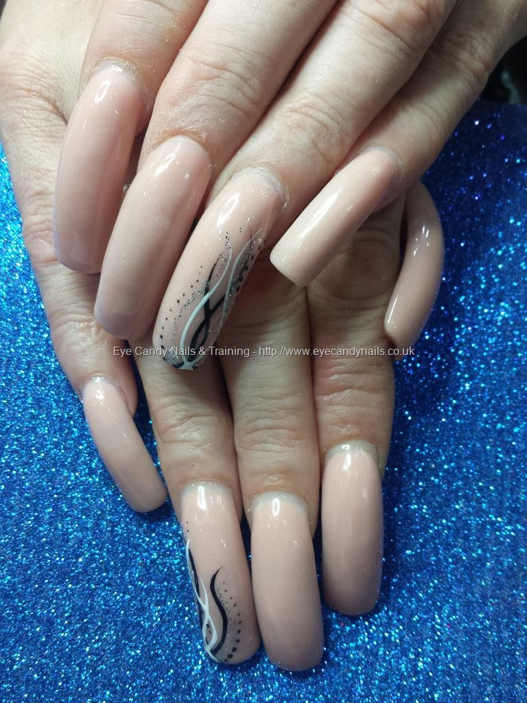 Nude Acrylic Overlays On Natural Nails With Freehand Nail Art Cool