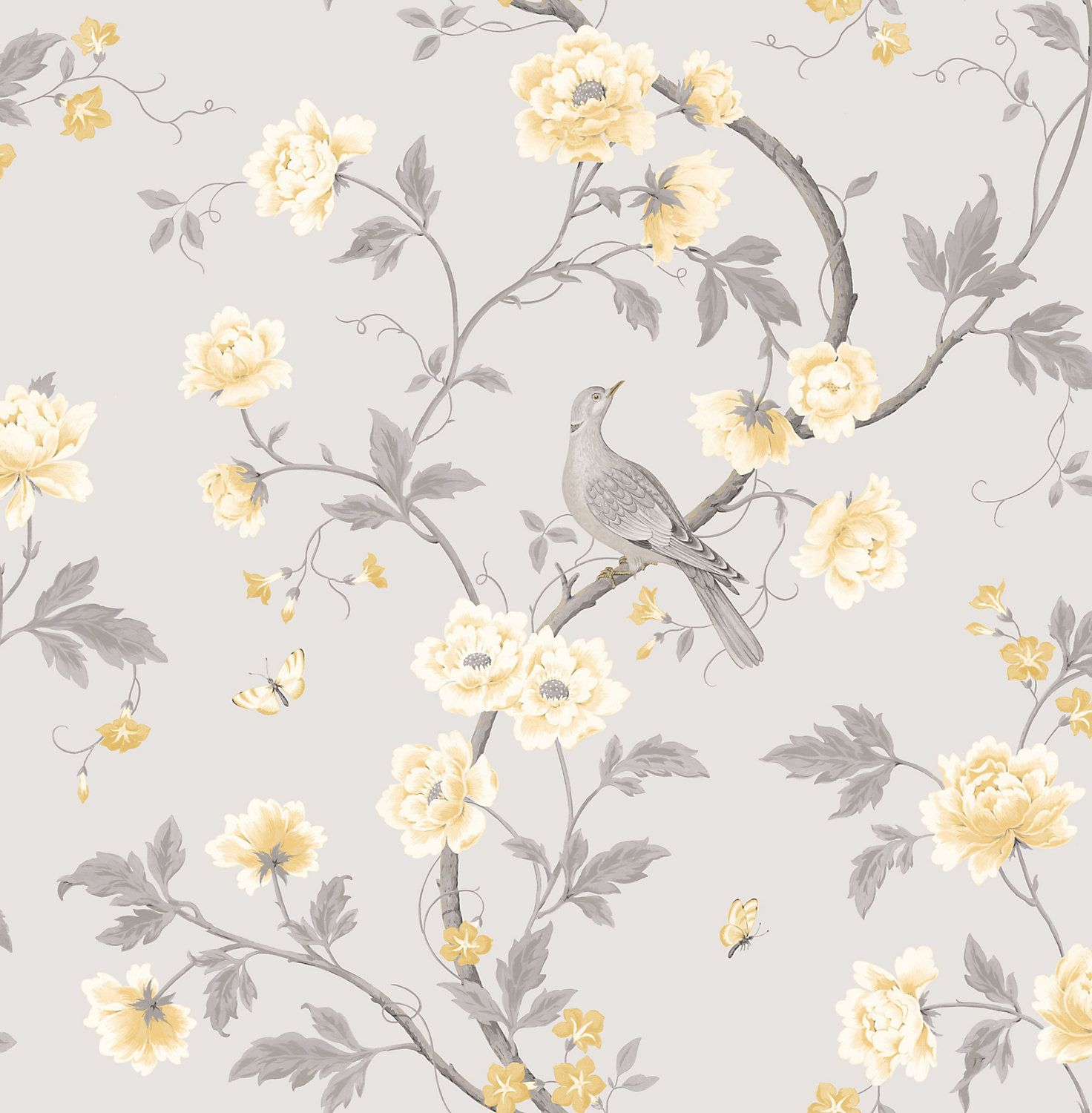 Colours Dorthea Soft Grey Floral Mica Wallpaper Grey Floral