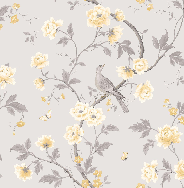 Colours Dorthea Soft Grey Floral Mica Wallpaper Grey Fl
