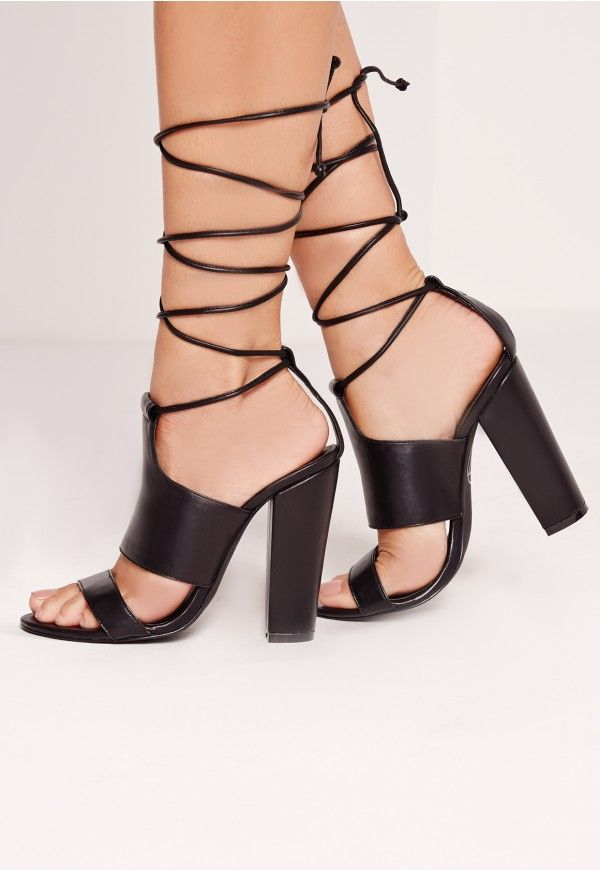 c643c00b5c2 Tie Ankle Strap Block Heels Black - Missguided