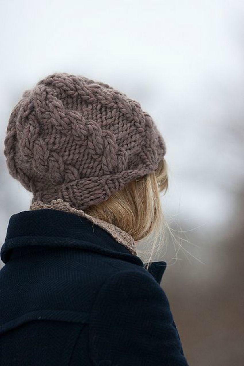 схема вязания шапки женской из толстой пряжи