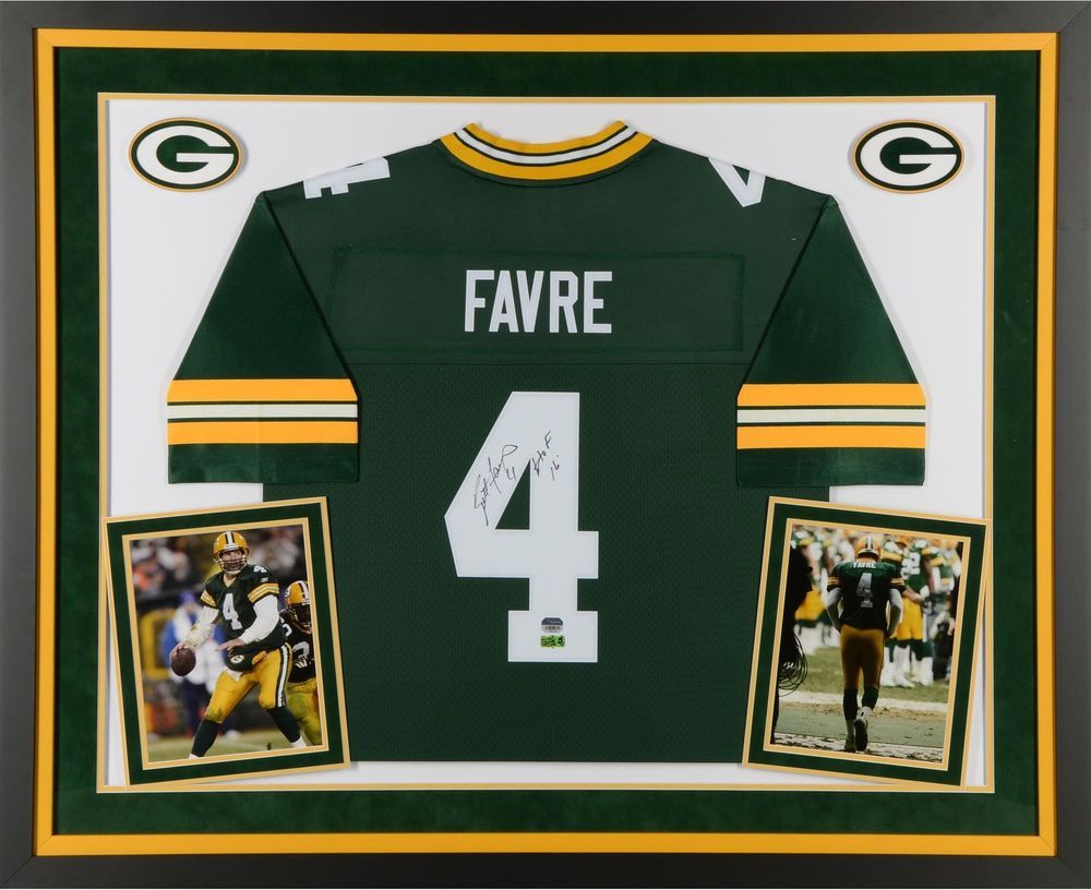 Brett Favre Gb Packers Framed Signed Green Jersey W Hof