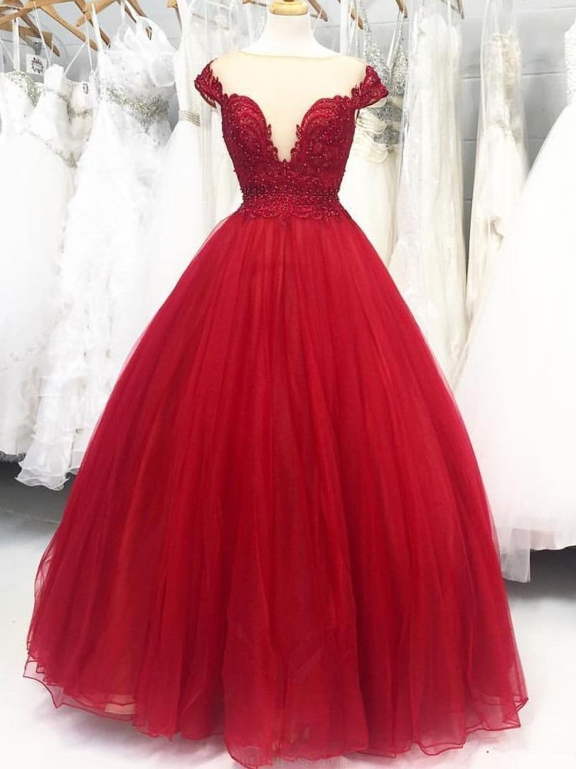 Discount splendid scoop red long tulle ball gown quinceanera dress