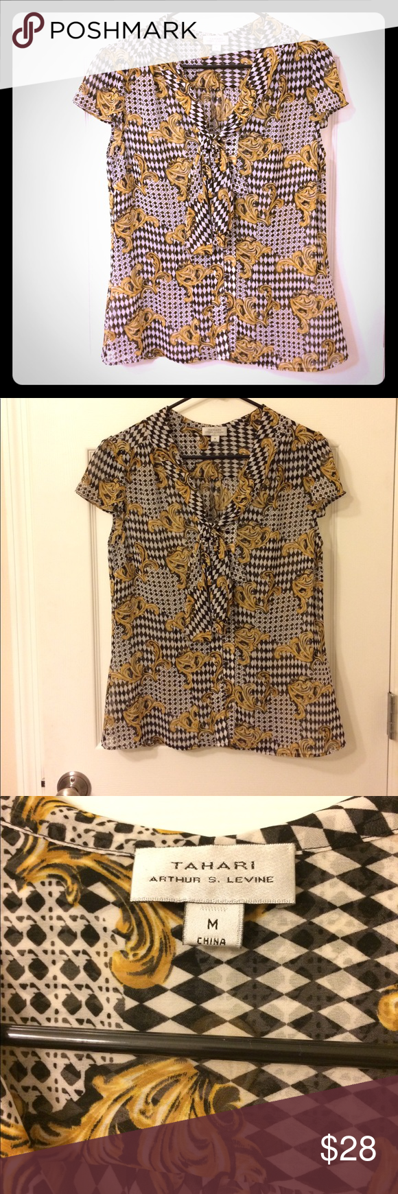 Tahari blouse Brand is sold at Lord & Taylor. Excellent condition. Too big for me and just hangs in my closet. Unusual color palette of black, white and mustard adds a bit of unique edge to this blouse. Excellent for work! Sheer. Price is firm; I don't accept offers. No trades. Bundle and save! Lord & Taylor Tops Blouses