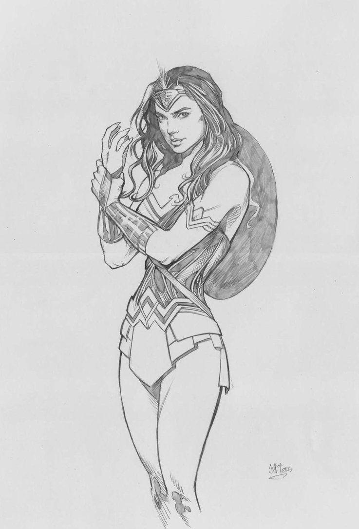 Wonder Woman Gal Gadot Style Pencil By Jefterleite Purty