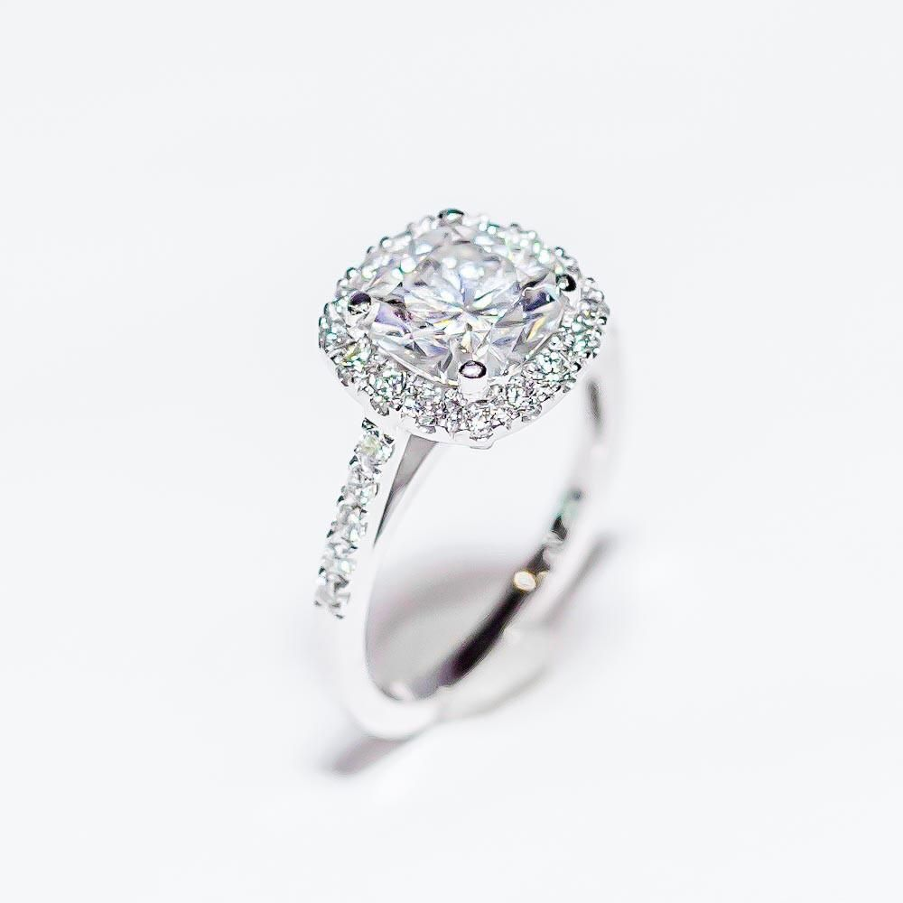 Kw gold halo cushion cut moissanite engagement ring products
