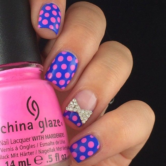 Polka dots and bows === Check out my Etsy store for some nail art ...