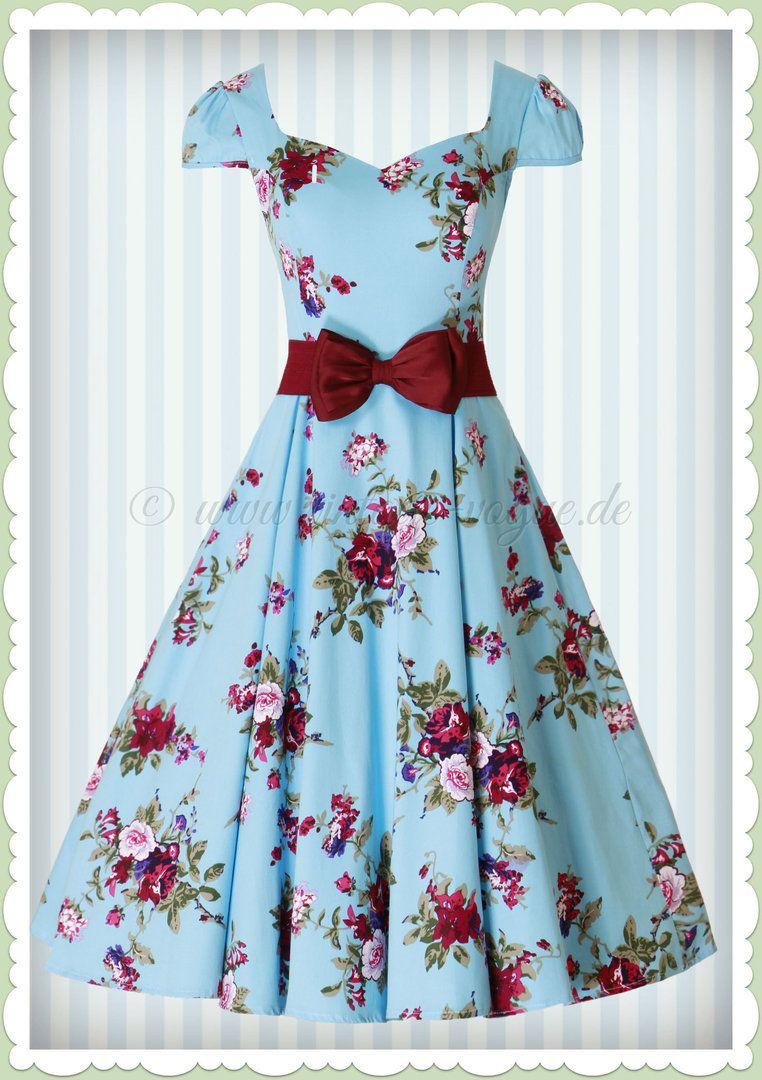 Hearts & Roses 13er Jahre Retro Rosen Petticoat Kleid -Royal