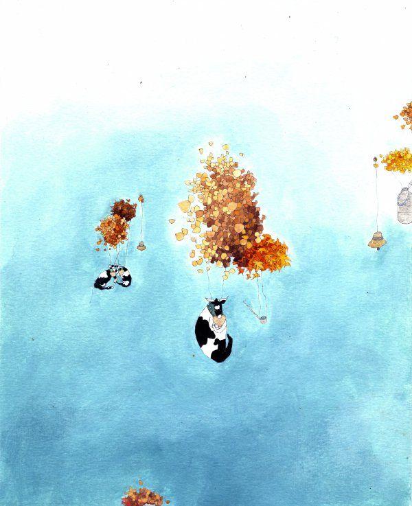 estelle régent polyptyque vertical aquarelle et huile sur papier 4x20x25cm n°3 2013 2013