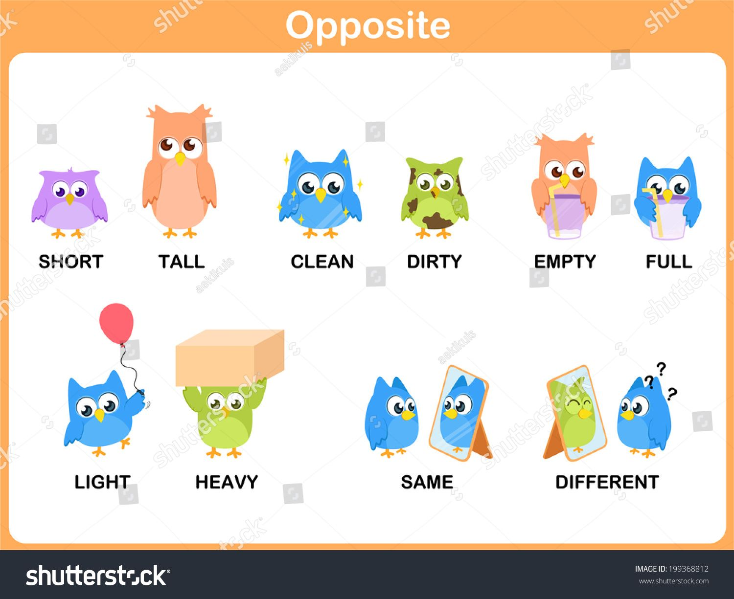 Opposite word for preschool (short, tall, clean, dirty