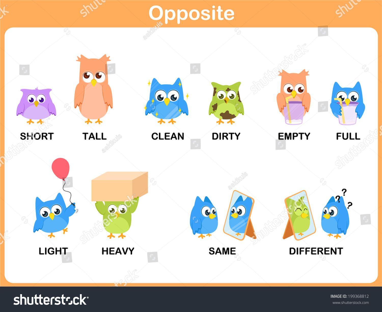 Opposites Preschool Opposite word for pres...