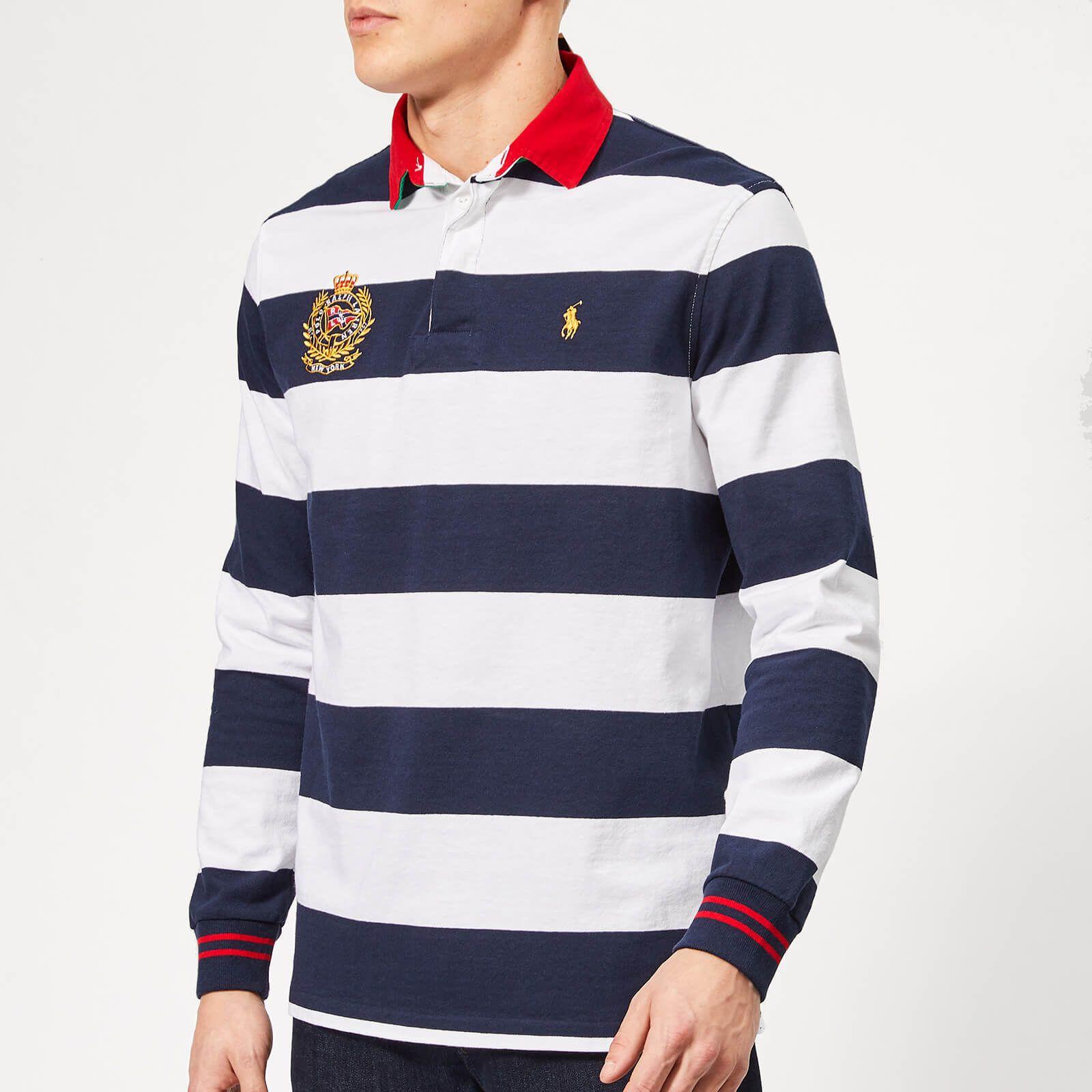 Polo Ralph Lauren Men S Newport Stripe Crest Rugby Shirt Cruise Navy White Affiliate Ad Men Newport Rugby Shirt Polo Shirt Brands Polo Ralph Lauren Mens