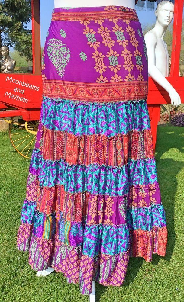 14 Bohemian Style Bedroom Interior Design Ideas: Divine New Purple Bohemian Long Skirt Size 12 14 16 18