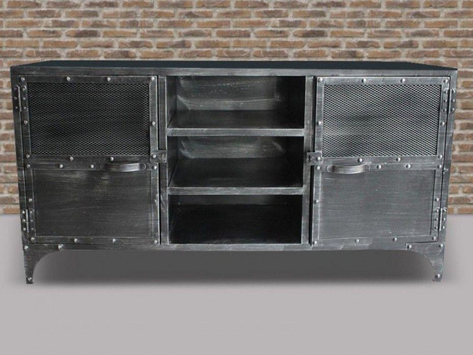 Sideboard Design Metall Ruben - 2 Türen, 4 Regalbretter - wohnzimmer sideboard design