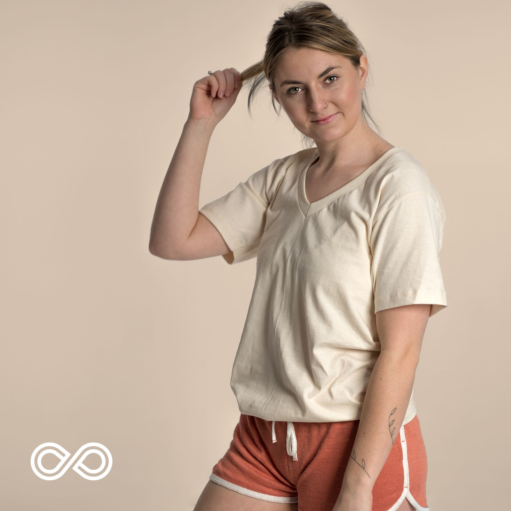 c80819adfb62 Feeling sporty? Hannah is wearing the Mendocino organic cotton T-shirt and  the Portland organic hemp shorts. #rawganique #linen #wearhemp #sustainable  ...