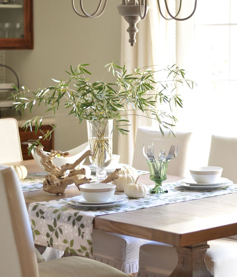 Olive branch centerpiece with white pumpkins fall for Casual dining table centerpiece ideas