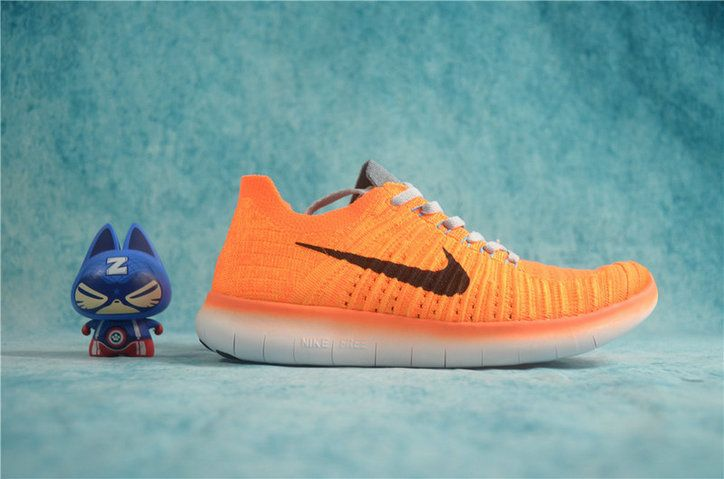 62419d2a5457 Populaire Nike Free Rn Flyknit 2016 Total Orange Black Grey 831070 ...