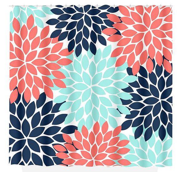 Navy Coral Aqua Floral Shower Curtain Flowers Custom Monogram