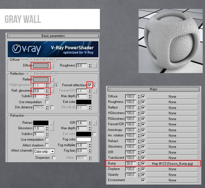 Vray wall gray 3ds max v ray material pinterest 3ds max for 3ds max design