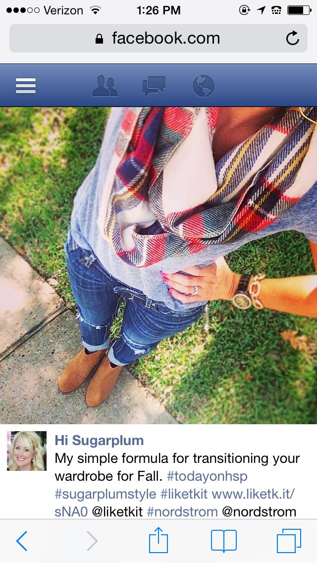 Love the plaid with the cognac booties.