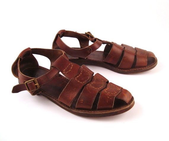 Cole Haan Sandals Brown Vintage 1980s Leather Shoes Men's size 10 1/2