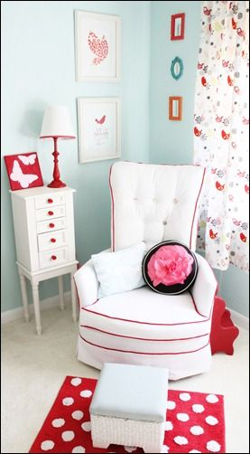 Red and aqua nursery. Great for boy or girl! Many other pictures of the room inherent blog!