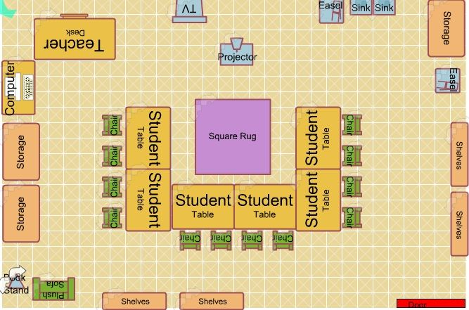 Art classroom portfolio storage art classroom floor plan for Classroom floor plan