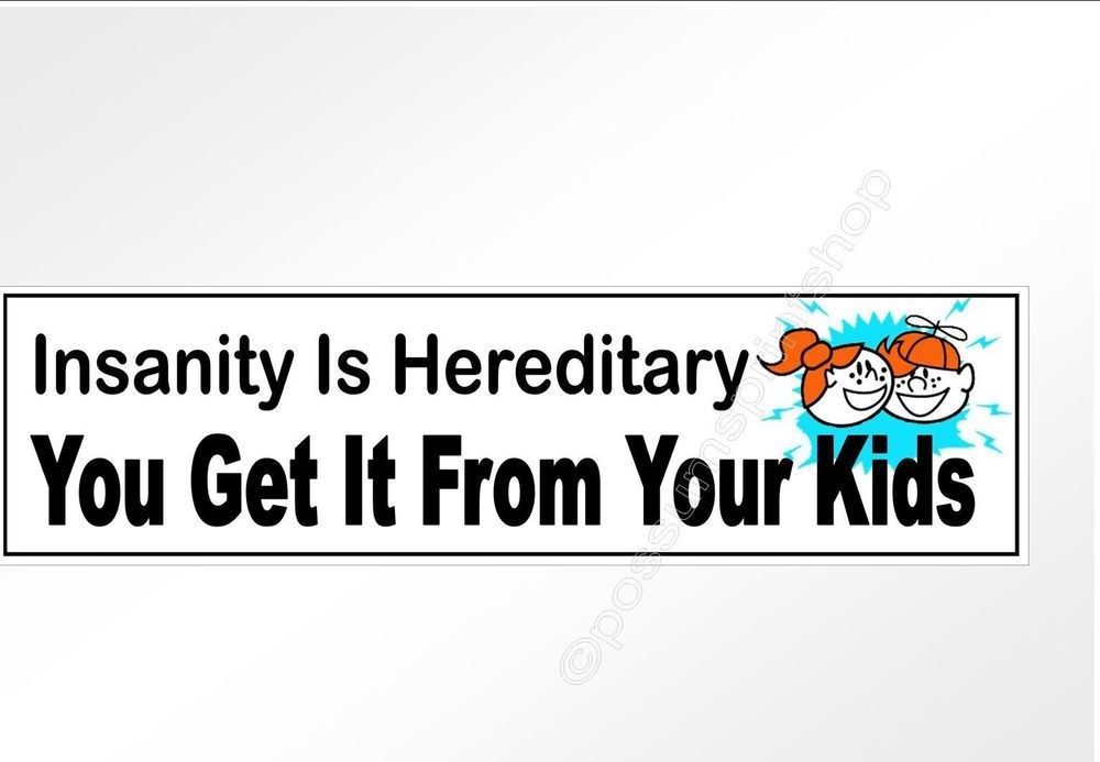 Funny car bumper sticker Insanity Hereditary Get It From Your Kids 220 mm decal