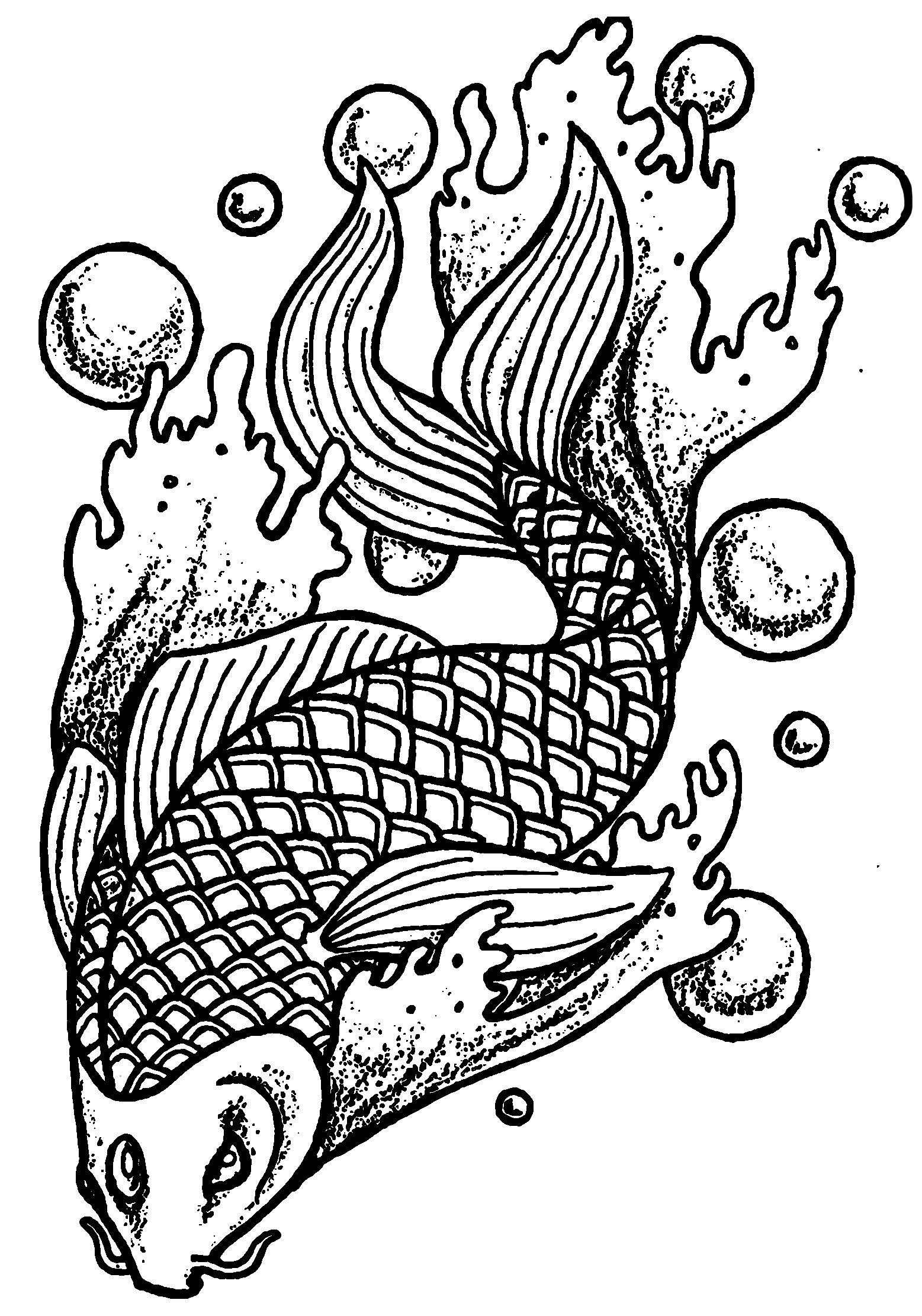 Fish and bubbles - Fishes Adult Coloring Pages   Fish ...