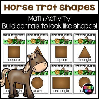 Horse Trot Shape Cards Shaped cards, Farm preschool