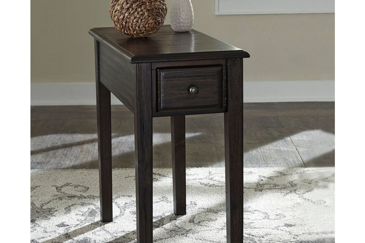 Solid Wood Chairside End Table With Usb Ports Outlets Solid Wood Chairs End Tables Brown Chair